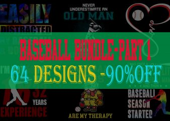 Baseball Bundle Part 1 – 90% OFF – 64 Designs