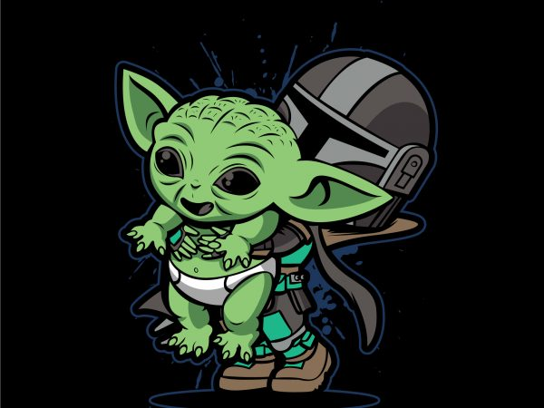 The cute baby yoda design for t shirt