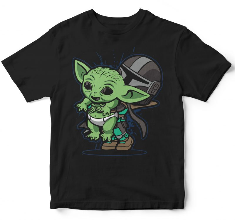 The cute baby yoda t shirt design graphic