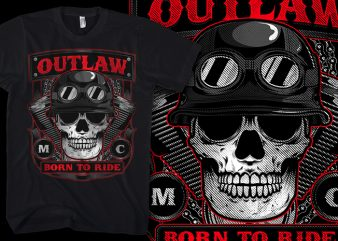 Outlaw Skull Biker t-shirt design for sale