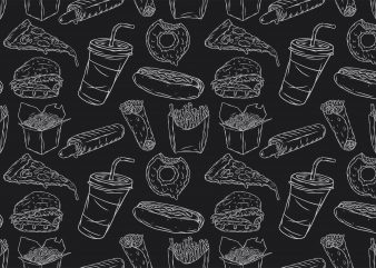 Monochrome fast food pattern. Vector t-shirt design.