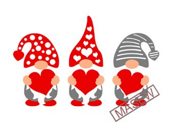 Three Gnomes Holding Hearts Svg, Valentine's Day Svg, Gnomes Svg, Dxf, Eps, Valentine Svg Clipart, Girls Valentine Shirt Design, Cut Files
