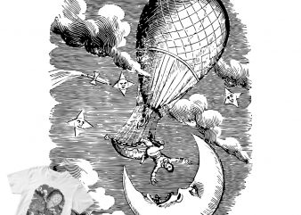 FALL FROM THE AIR BALLOON ENGRAVING t shirt design template