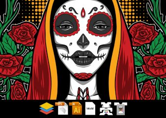 Holy Muerte Girl – Vector T-shirt Design