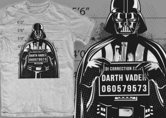 D-Vader Mugshot t shirt vector illustration