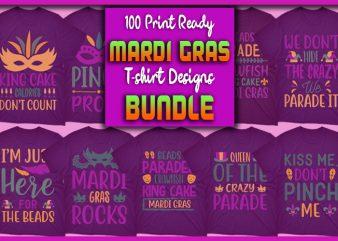 100 Print Ready Mardi Gras T-shirt Designs Bundle