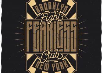 Fight Club. Editable vector t-shirt design.