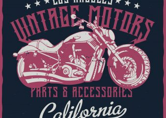 Los Angeles Vintage Motors. Editable vector t-shirt design.