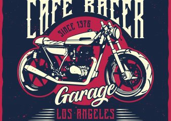 Custom Cafe Racer. Editable vector t-shirt design.