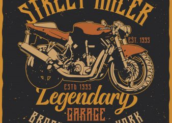 Street Racer. Editable vector t-shirt design.