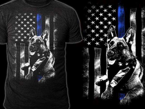 Police Dog t shirt illustration