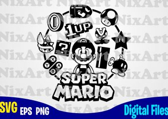 Supermario, Super Mario, Mario, Super Mario svg, Funny Gamer design svg eps, png files for cutting machines and print t shirt designs for sale t-shirt design png