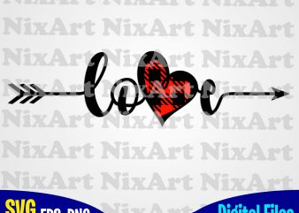 Love, Arrow, Plaid heart, Valentine, Heart, Funny design svg eps, png files for cutting machines and print t shirt designs for sale