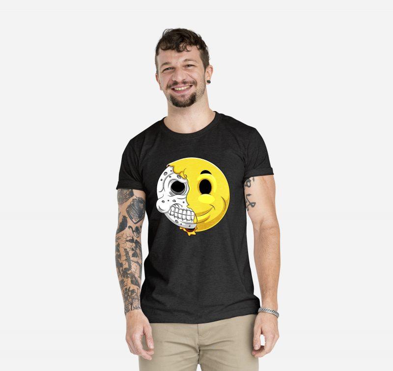 skull smile cartoon t shirt designs for printify