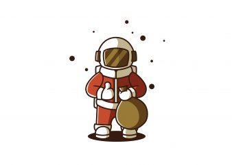 Astronaut Santa print ready shirt design