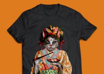 Geisha Cat Eat Sushi T-shirt