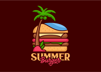 Summer Burger tshirt design vector