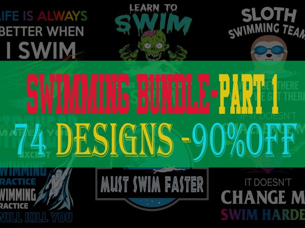 Swimming Bundle Part 1 – 90% OFF – 74 Designs