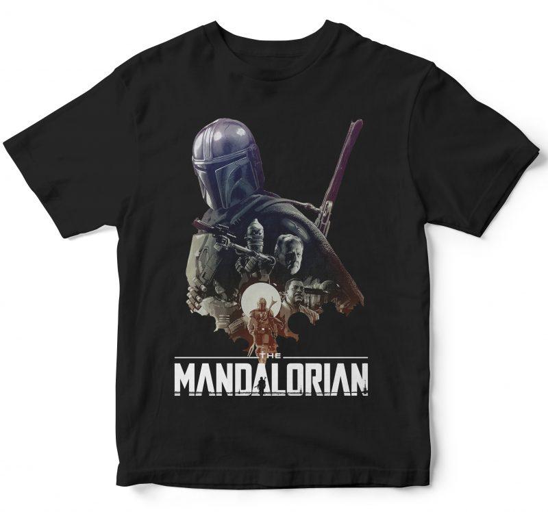 THE MANDALORIAN BABY YODA, STARWARS FILM tshirt design for sale