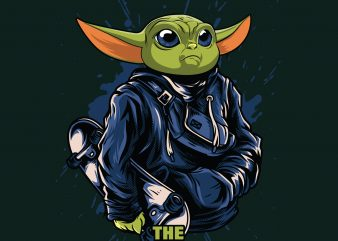 The Skatelorian baby yoda t shirt design for purchase