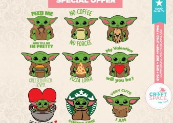 Baby Yoda svg Full Layered Bundle File DXF PDF Cut File For Cricut Explore, Silhouette Cameo 3 t shirt template