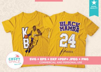 Kobe Bryant the Black Mamba,Full Layered SVG Cutting File DXF PDF Cut File for Cricut and Silhouette commercial use t-shirt design