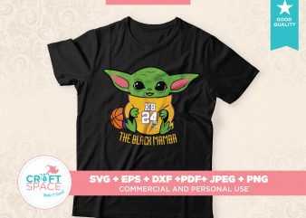 Baby Yoda Honoring Kobe Bryant Full Layered SVG Cutting File DXF PDF Cut File for Cricut and Silhouette buy t shirt design for commercial use