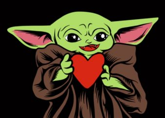 Baby Yoda valentines day lover heart png (Transparant Background ) download – valentine day digital – Baby Yoda lover png file t shirt illustration