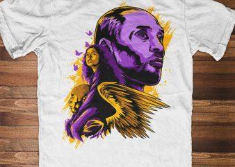 KOBE & GIGI Bryant. Forever Legend! The Black Mamba t shirt design template