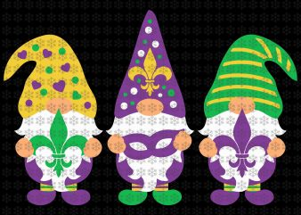 Gnomes svg, Gnomes Mardi Gras , Fleur De Lis, Louisiana, New Orleans svg, png, dxf, eps, ai files t shirt design template