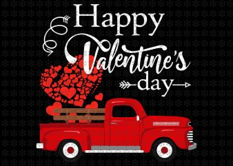 Happy Valentines Day Truck Heart Carrying Love Heart, Valentines Day Truck png, jpg, psd files graphic t shirt