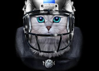 Cute White Tabby Cat as American Football Player PNG Download – Animals Digital Download – Funny Kitten t shirt vector file