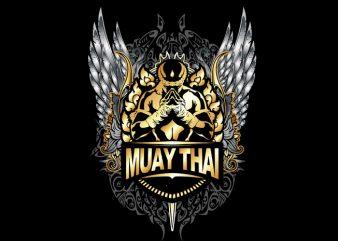 Muay Thai 5 vector vector t-shirt design