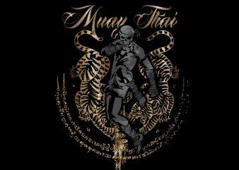 Muay Thai 6 vector t-shirt design template