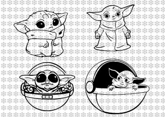 Baby yoda svg, Star wars svg, png, dxf, eps, ai files t shirt template