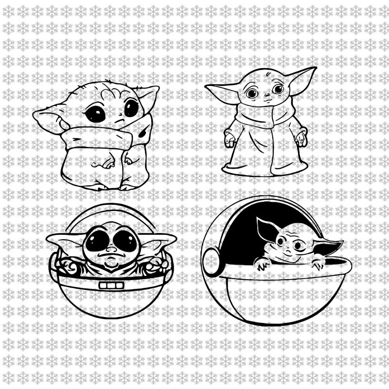 Baby yoda svg, Star wars svg, png, dxf, eps, ai files t shirt designs for print on demand