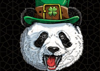 Panda Face St Patricks Day Boys Leprechaun Panda Digital Download – St Patricks Day Digital – Funny Leprechaun Gifts t shirt illustration