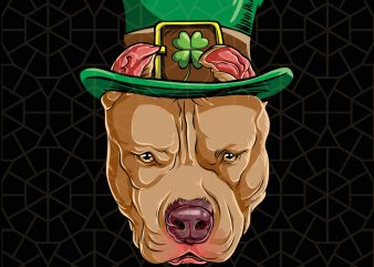 Pitbull Dog Leprechaun St Patricks Day Digital Download – St Patricks Day Digital – Funny Leprechaun Gifts t shirt illustration