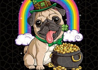 Pug St Patricks Day Leprechaun Dog Lover Digital Download – St Patricks Day Digital – Funny Leprechaun Gifts t shirt illustration