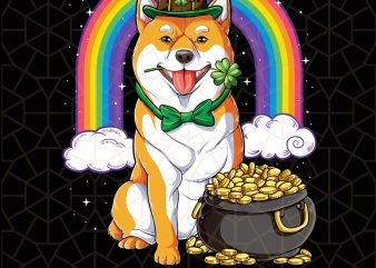Shiba Inu St Patricks Day Leprechaun Dog Lover Digital Download – St Patricks Day Digital – Funny Leprechaun Gifts t shirt template vector