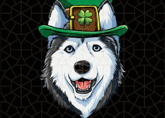 Siberian Husky St Patricks Day Boys Leprechaun Dog Digital Download – St Patricks Day Digital – Funny Leprechaun Gifts t shirt template vector