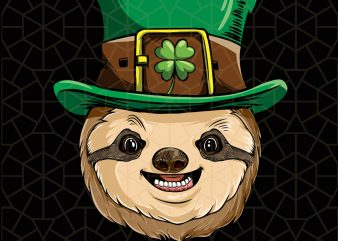 Sloth St Patricks Day Boys Leprechaun Sloth Digital Download – St Patricks Day Digital – Funny Leprechaun Gifts t shirt template vector