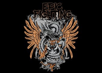 EPIC FIGHTING DRAGON VS TIGER vector t-shirt design for sale