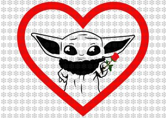 Baby yoda valentine svg, baby yoda svg, valentine svg, Star wars svg, png, dxf, eps, ai files t shirt template