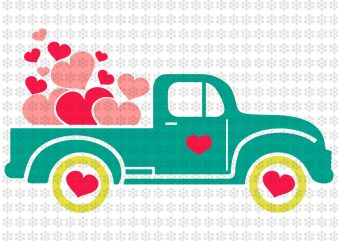 Valentine's Day Truck svg, Valentine, Love, Hugs, Kisses, Heart , svg, png, dxf, eps ai files t shirt vector art