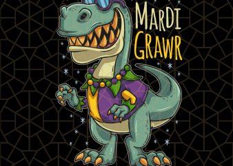 Mardi Grawr Mardi Gras T Rex Costume PNG Download – Mardi Gras Digital Download t shirt designs for sale