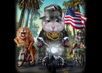 Grey Dwarf Hamster Riding Motorcycle on California Boulevard PNG Download – Funny Animals Digital Download t shirt design template