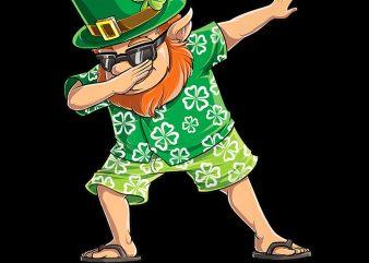 Dabbing Leprechaun Hawaiian St Patricks Day Surfing PNG Download – St Patricks Day Digital – Leprechaun PNG Files t shirt vector illustration