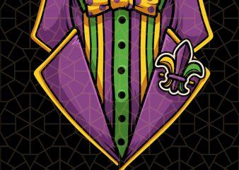 Tux Mardi Gras For Women Tuxedo Lazy PNG Download – Mardi Gras Digital Download t shirt designs for sale
