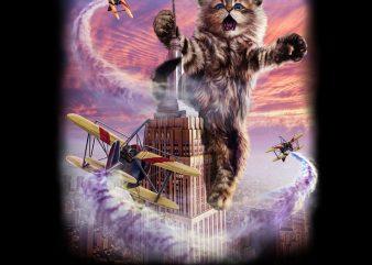Monster Cat Terrorize Manhattan New York, USA PNG Download – Funny Kitten Digital Download t shirt designs for sale